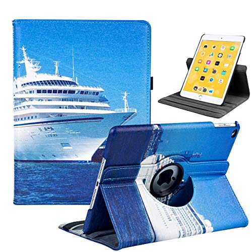 LRCXL iPad 5th/ 6th Generation Case, iPad 9.7 Inch 2017/2018 Case - Rotating Stand Protective Cover with Auto Sleep Wake for Apple ipad Air 2/ iPad Air 2013 Model(Yacht)
