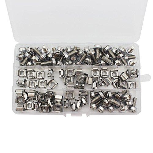 Raogoodcx 50 juegos de tuercas enjauladas y tornillos de montaje M6 con orificio cuadrado, arandelas para rack de servidores y gabinete (M6 x 20 mm) (tornillo + arandela + tuerca enjaulada)