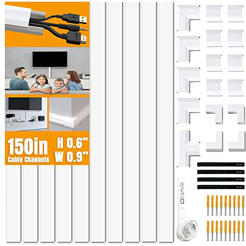 Cable Concealer on Wall Raceway - Paintable Cord Cover for Wall Mounted TVs - Cable Management Kit Including Connectors & Adhesive Strips Connected to Raceway