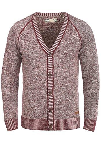 !Solid Thiamin Herren Strickjacke Cardigan Feinstrick Mit V-Ausschnitt und Knopfleiste Aus 100% Baumwolle, Größe:XL, Farbe:Wine Red (0985)
