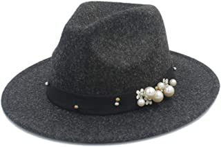 SHENTIANWEI Authentic Men Women Fedora Hat with Pearl Pop Panama Hat Church Hat Wide Brim Jazz Fascinator Hat Size 56-58CM
