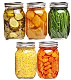 ANH MART 500 ml Ball Regular Mouth Mason Jars Airtight lids and Bands. For Canning, Fermenting, Pickling - Store & Decor SET OF 5