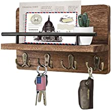 Decorative Mail and Key Holder for Wall, Wooden Mail Organizer with 4 Double Key Hooks, Wood Hanging Mail Sorter with Shelf, 100% Wood Letter, Bill and Newspaper Storage Shelf