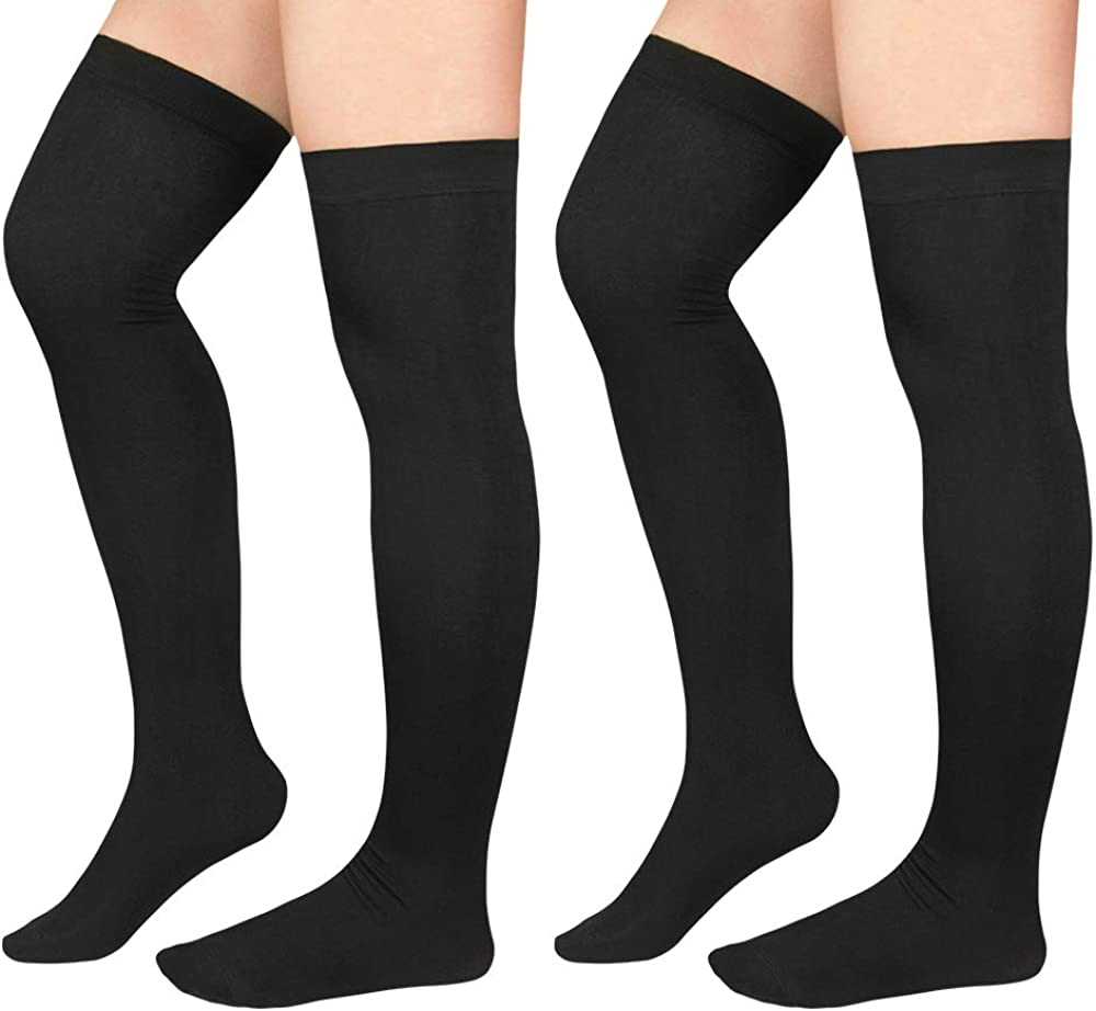 American Trends Plus Size Thigh High Socks For Women Girls Knee High Socks Over the Knee High Boot Stockings Leg Warmers 2 Pairs Black