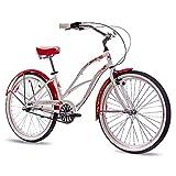 CHRISSON 26 Zoll Beachcruiser Sandy Weiss rot mit 3 Gang Shimano Nexus Nabenschaltung, Damenfahrrad im Retro Look, Vintage Cruiser Bike