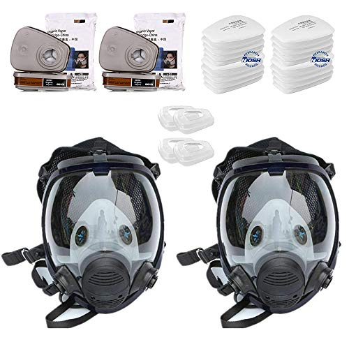 EROCK 30in1 Full Face Large Size Respirator, Full Face Wide Field of View, Widely Used in Organic Gas,Paint spary, Chemical,Woodworking (for 6800 Respirator)