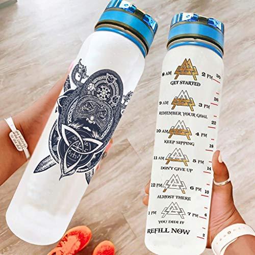 Twelve constellations Botella deportiva duradera, personalizable, apta para oficina, regalo de cumpleaños, color blanco, 1000 ml