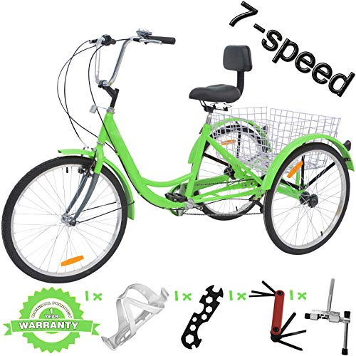 VANELL 7/1 Speed Tricycle Adult 20/24/26 in Trike Cruise Bike 3 Wheeled Bicycle W/Large Size Basket for Women Men Shopping Exercise Recreation (Apple Green, 24 inch/ 7 Speed)