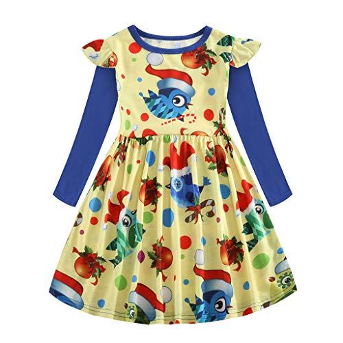 LILIHOT Kleinkind Scherzt Baby Weihnachtstierkarikatur Schneemann Prinzessin Dress Outfits Baby Mädchen Sweatshirt Kleid Cartoon Prinzessin Patchwork Kleidung
