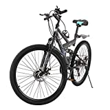 Sanamity Mountain Bike 26 inch Mountain Bikes for Men High Carbon Steel Frame Twist Shifters 21-Speed Front and Rear disc Brakes Bicycles for Men Women Teenagers Adults