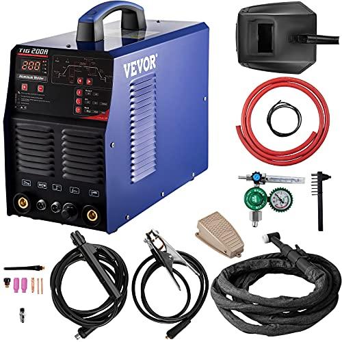 VEVOR Soldador Inversor TIG 220 V 200 A Soldador Inverter para Soldadura TIG 3 en 1 Sistema de Refrigeración Equipo de Soldadura Inverter AC DC 435x210x350 mm con Tecnología IGBT para TIG, MMA y ARC
