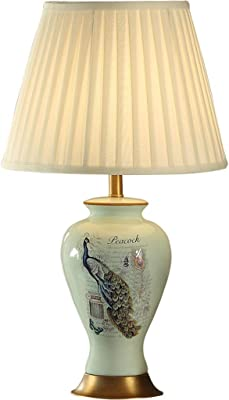 Table lamp ZJING Blue Peacock All Copper Ceramic American Bedside Simple Living Room