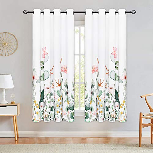 Floral Curtains, Watercolor Wild Flower Curtain Panel, Print Floral Window Drapes with Grommets for Bedroom Living Room Decor, Set of 2 Panels, 52 x 63 Inch Length