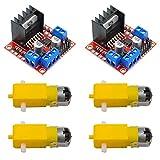 KYYKA Controlador de accionamiento de motor (2 piezas) para módulo paso a paso de CC de puente Arduino Dual H L298N con 4 motores de CC