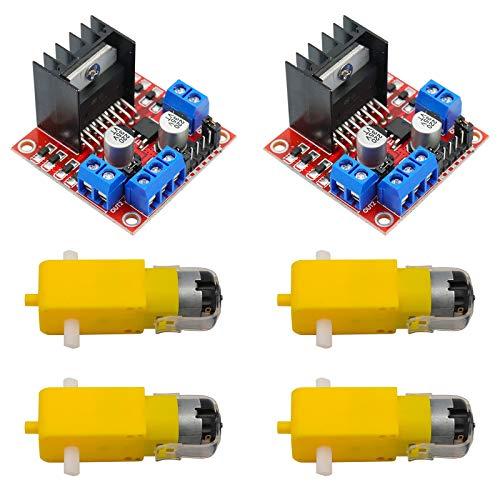 KYYKA Motor Drive Controller (2 Stück) für Arduino Dual H Bridge DC-Schrittmodul L298N mit 4 DC-Motoren