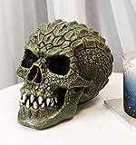 Ebros Gift Gator Head Alligator Monster Cranium Skull with Hide Skin Look Texture Decorative Figurine Ossuary Macabre Halloween Crocodile Skulls Statue