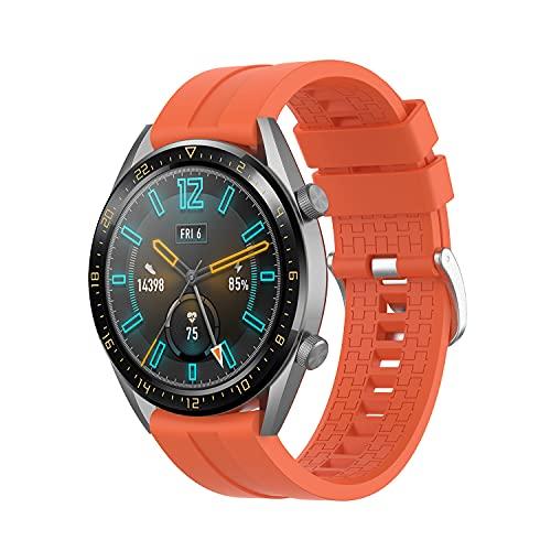 Correa Compatible con Huawei Watch GT/GT2 46mm/GT 2e/Honor Magic Watch 2 46mm Correas de Silicona, 22mm Impermeable Banda Deportiva Pulsera de Repuesto para Hombre y Mujer (Naranja)