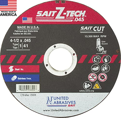 SAIT 23324 Type 1 4-1/2-Inch x .045-Inch x 7/8-Inch 13300 Max RPM Z-Tech - High Performance Cut-Off Wheels, 50-Pack