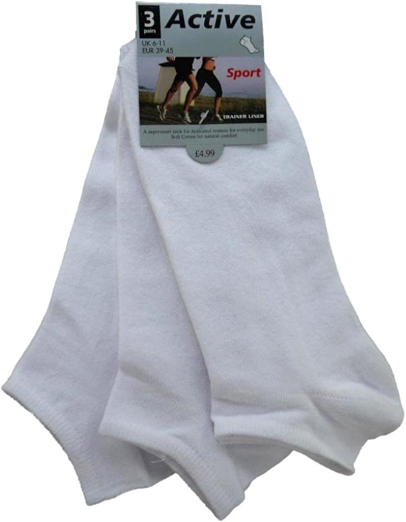 Eur 45-49 Eur 39-45 and UK 11-14 *Fantastic Value* 3 Pairs of Mens//Boys Plain Cotton Rich Trainer Liner Socks//UK Sizes 6-11