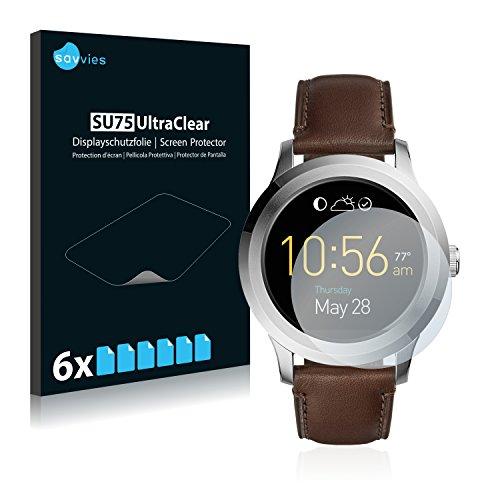 Savvies 6X Schutzfolie kompatibel mit Fossil Q Fo&er 2.0 Bildschirmschutz-Folie Ultra-transparent