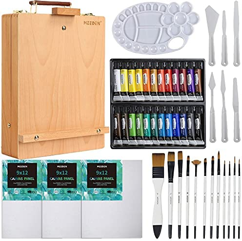MEEDEN Acrylic Painting Set- Acrylic Painting Kit with Beechwood Tabletop Easel, 24×12ML Acrylic Paints, 12 Acrylic Paintbrushes & Additional Art Supplies for Artists, Hobbyist & Beginners
