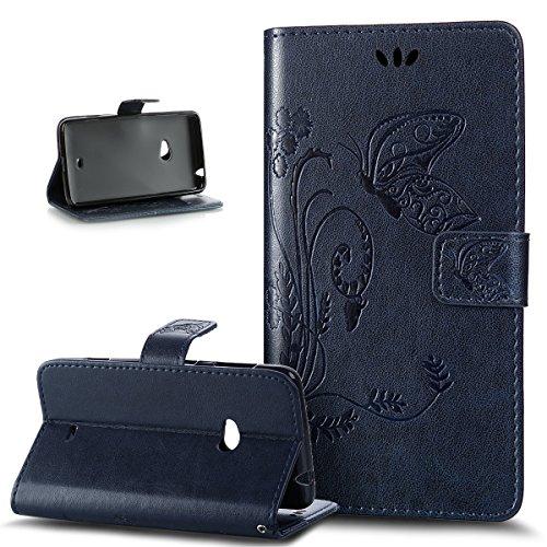 Kompatibel mit Nokia Lumia 625 Hülle,Nokia Lumia 625 Handyhülle,Prägung Groß Schmetterling Blumen PU Lederhülle Flip Hülle Ständer Karten Slot Wallet Hülle Schutzhülle für Nokia Lumia 625,Marine Blau