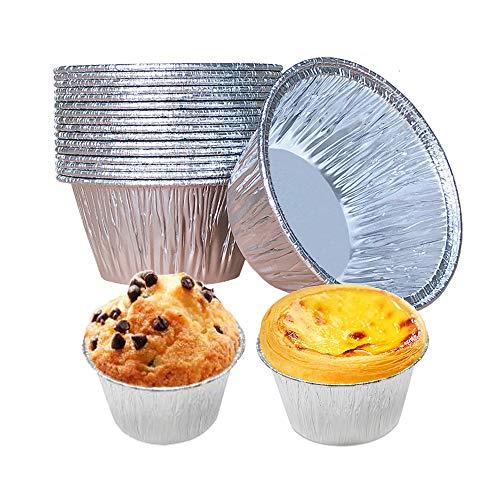 Backförmchen, Cupcake-Einlagen, 150 Stück, Aluminiumfolie, Cupcake-Form, 118 ml, Muffinförmchen, Pudding-Müllen, Halter (150 Stück)