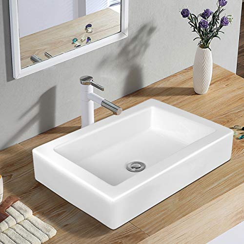 Tangkula Lavabo Rectangular de 22.5'x16 para lavamanos, Porcelana, sobre de cerámica, sobre encimera, Lavabo para lavamanos, Lavabo con desagüe, Ideal para el hog