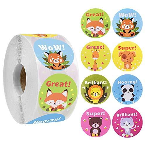 YRSM 500 piezas/rollo niños recompensa pegatina panda zorro animal patrón padre maestro divertido juguete adhesivo