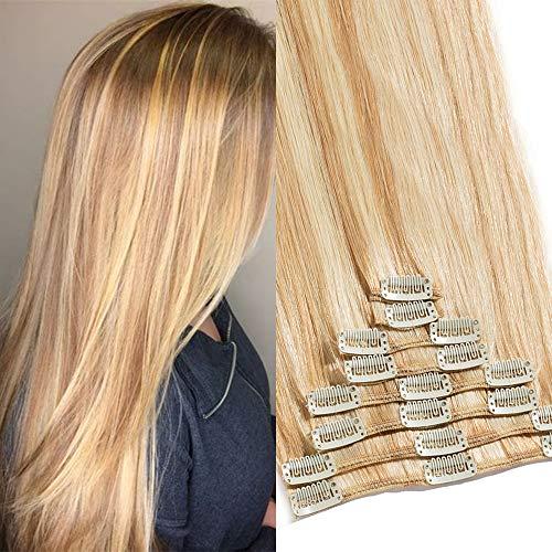 TESS Clip in Extensions Echthaar Haarteile Haarverlängerung Standard Weft Grad 7A Lang Glatt guenstig Remy Human Hair 8 Tressen 18 Clips 40cm-90g(#18/613 Hellgoldblond/Hell-Lichtblond)