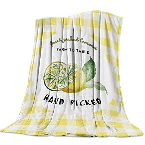 Hirkeld Fleece Bed Blanket USA Country Farm Fresh Lemon Truck Plaid Manta de Tiro a Cuadros Todas Las Estaciones Mantas de Felpa cálidas, Suaves y acogedoras para Sala de Estar/Dormitorio ~ A6