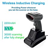 LS-PRO Wireless Barcode Scanner with USB Cradle Receiver Charging Base, 2.4GHz Handheld 1D Cordless Laser Barcode Reader, UP to 150Ft Transmission Range, long-life Battery 2200mAh, 1 Year Warranty.