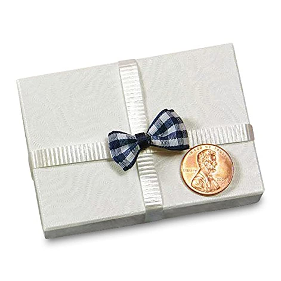 Navy Small Gingham Bow Ties, 1/2