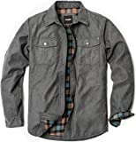CQR Men's Flannel Lined Shirt Jackets, Long Sleeved Rugged Plaid Cotton Brushed Suede Shirt Jacket, Flannel Lined(hok700) - Shark Grey, Large