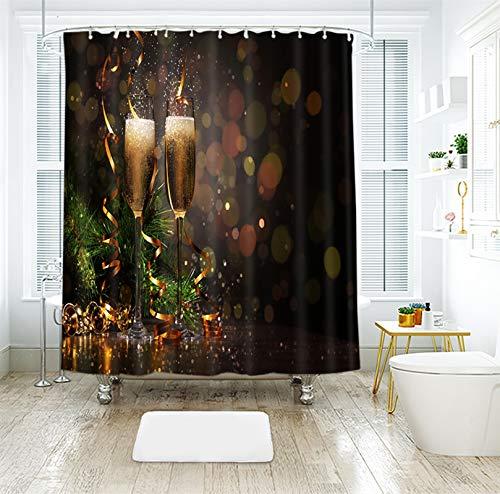 180x200CM Duschvorhang, Weihnachtsbaum Glocke Weinglas Bad Vorhang, Polyester 3D Digitaldruck, Schnelltrocknend, mit 12 Duschvorhangringen, Für Badezimmer Badewanne - Grün Braun