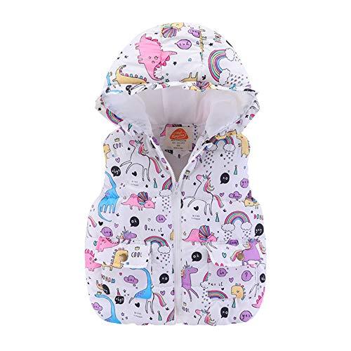 Bebe Niñas Invierno Chaleco con Capucha - Moda Animales Estilo sin Mangas Chaquetas de Cremallera Abrigo Ropa para 2-7 años