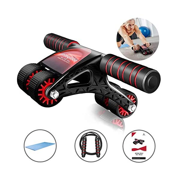 Integlobe Ab Roller for Abs Workout,Super Stable 4-Wheel Ab Roller Wheel Exercise Equipment for Core Workout,Ab Workout Equipment for Home Gym,Ab Wheel Roller with Jump Rope and Knee Mat