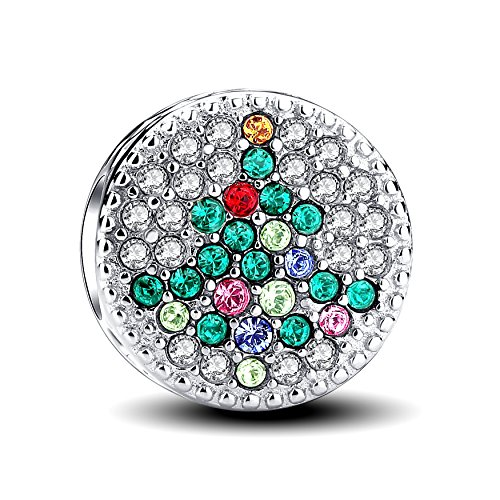 Glamulet Crystal Christmas Tree Charm 925 Sterling Silver Round Bead Fits Bracelet