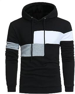 Sanfashion Men's Long Sleeve Patchwork Hoodie Sweatshirt Tops Jacket Coat Outwear Streetwear