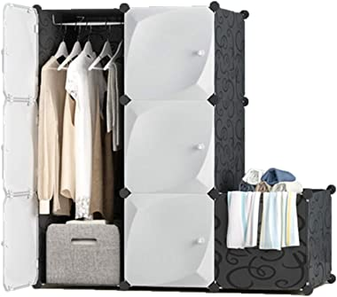 XBZHYG Portable Closet,White Clothes Wardrobe Bedroom Armoire Storage Organizer, Capacious & Sturdy, 3 Grid 1 Hanging+Dirty Hamper, Size: 111×47×111cm