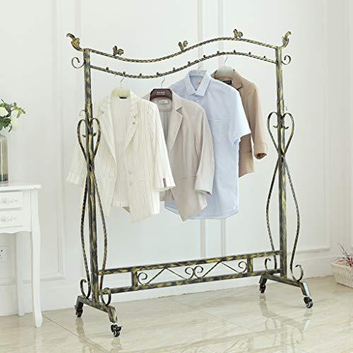 Loywe Kleiderständer im Vintage-Stil Garderobenständer Höhenverstellbar von 120 bis 160 cm mit Rollen und Schraubenschlüssel,Metall, LWK10S-1