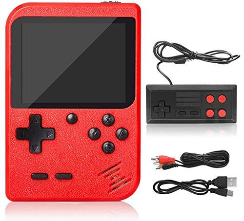 Consola Retro, Consola de Juegos Portátil, 3 Pulgadas 500 Juegos Retro FC Game Player Consola de Juegos Clásica 1 Carga USB,Soporte Dos Jugadores ,Regalo de Cumpleaños para los Niños Padres Rojo