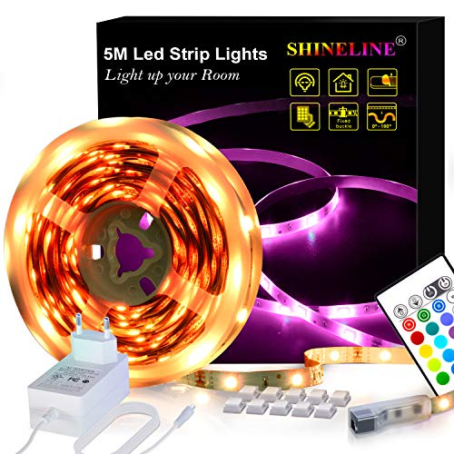 Led Strip 5M Led streifen Led Band SHINELINE SMD 5050 RGB Led Leiste Led Lichterkette mit Fernbedienung und Netzteil Led Beleuchtung Led Lichtband MEHRWEG