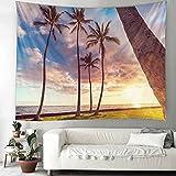 Tapiz nórdico ins viento junto al mar árbol de coco paisaje art...