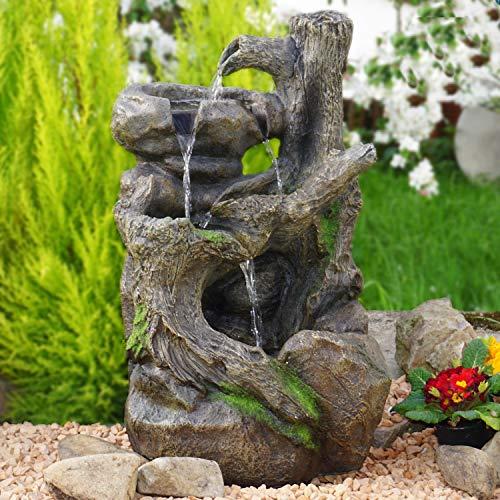-, Gartenbrunnen BAUMWURZEL § STEIN-KASKADE mit LED-Licht