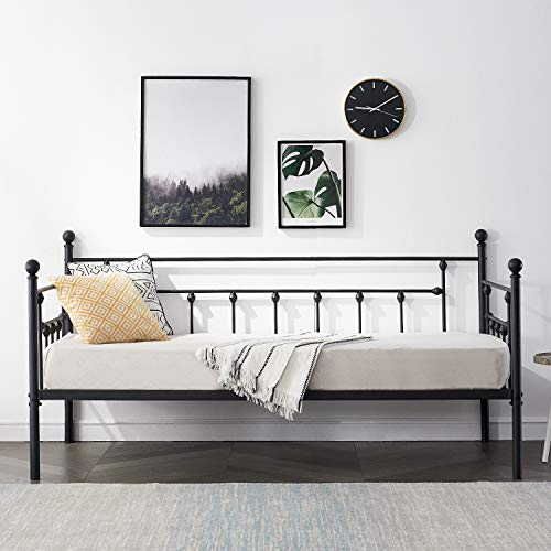 VECELO Daybed Frame Twin Size Multifunctional Metal Platform with Headboard Victorian Style,Mattress Foundation/Children Bed Sofa for Guest Living Room, Black