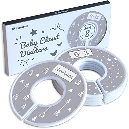 Binswloo Divisores de armario para ropa de bebé, divisores de tamaño unisex para cuarto de bebé, organizador de armario de bebé, desde recién nacidos hasta niños pequeños, 8 unidades