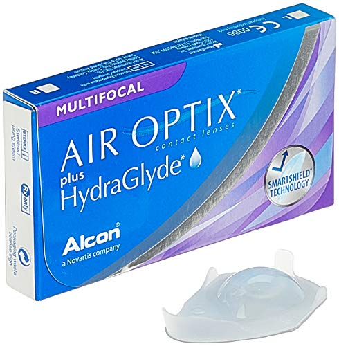 Air Optix plus HydraGlyde Multifocal Monatslinsen weich, 3 Stück, / BC 8.6 mm / DIA 14.2 mm / ADD MED / -3 Dioptrien, blau
