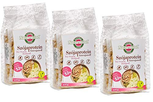 Sojaprotein Stroganoff Schnetzel | extrudiertes Soja-Produkt | vegan | 100 % pflanzlich | ohne Gentechnik | 3erPack (3 x 100 g)
