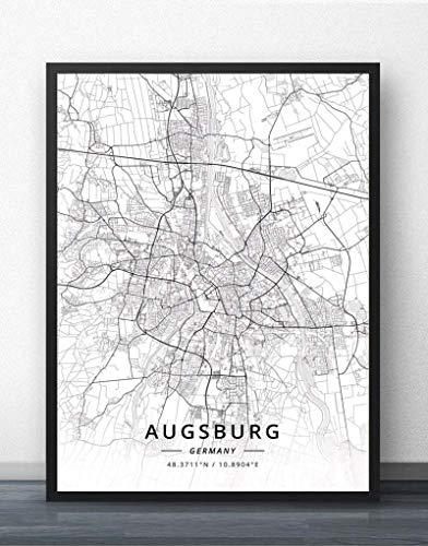 QYQMYK Leinwand Bilder,Augsburg Deutschland Stadtplan Drucke Poster Wandmalereischwarz Weiß Kunst Malerei Rechteck Bilder Pop Kunstwerk Für Wohnzimmer Schlafzimmer Home Decor, 30X40Cm/11.81X15.74 In